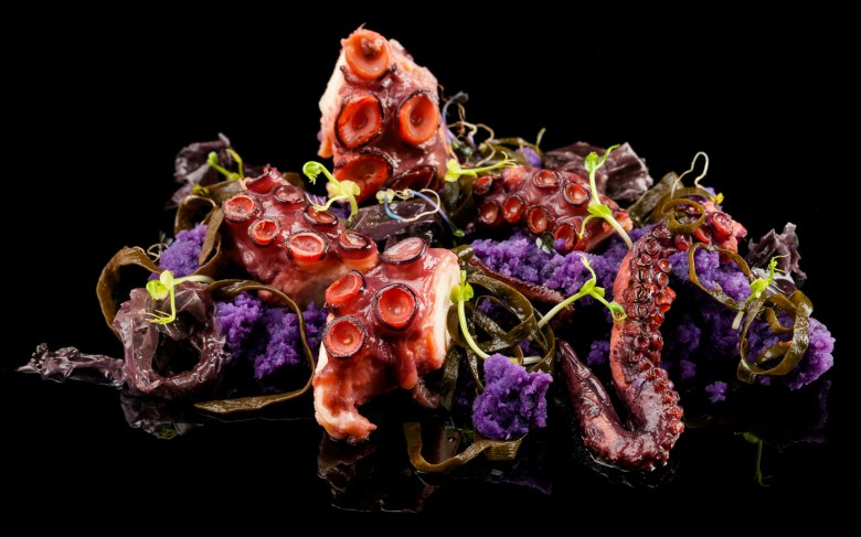 Grilled Octopus with Violet Potatoes, Paprika from La Vera and sea Spaghettis